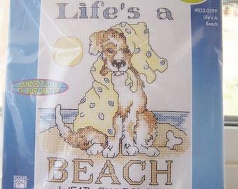 Janlynn Counted Cross Stitch Kit, Puppy Dog, 5 X 7 Life's a Beach Sampler, Cross Stitch Needlework Kit Destash