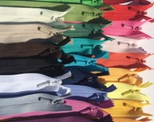 YKK Invisible Zippers- 25 assorted- Mixed lot of colors- brights, lights, darks, and neutrals- Available in 9,14,16,18 and 22 Inches
