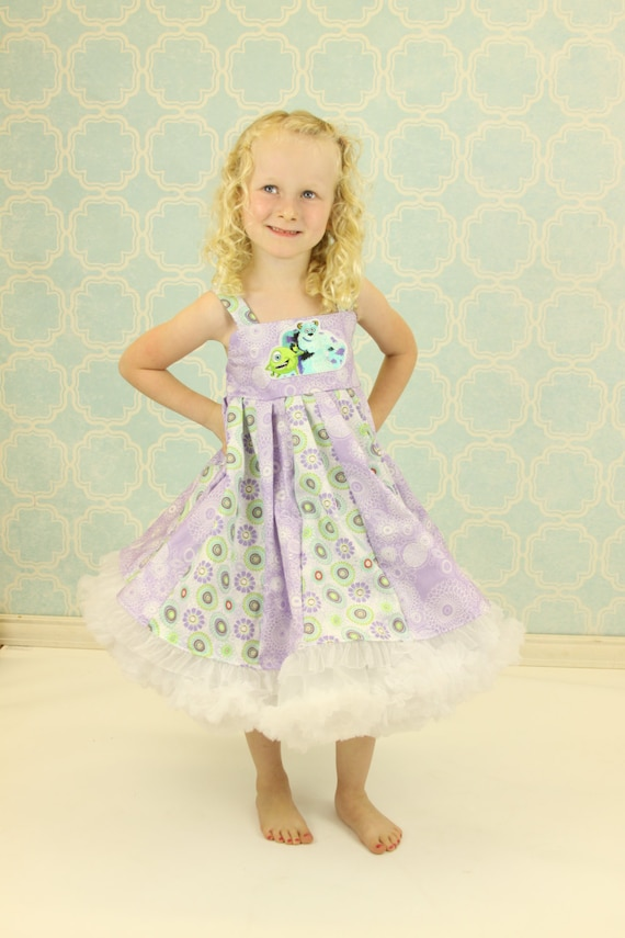 custom boutique dress made with sully and mike monster patch  size 2-6