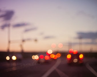 abstract photography / traffic, drive, dusk, bokeh, out of focus, lights, intentional blur / highway at dusk / 8x10 fine art photo