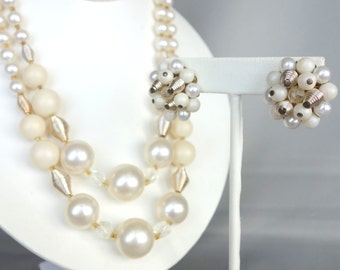 Vintage cream plastic faux pearl necklace and earring set, demi parure, signed Japan