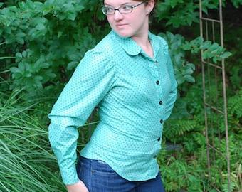 Light Teal and Brown Polka Dot Long Sleeve Women's Blouse Size Medium