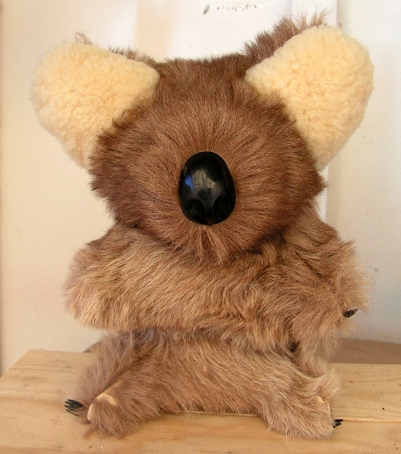 Koala Bear Real Fur Hand Sewn Teddy Bear by retrosideshow ...