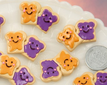 Kawaii Flatbacks - 30mm Peanut Butter and Jelly Sandwich Flatback Resin Cabochons - 6 pc set