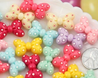 Kawaii Cabochons - 25mm Cute Minnie Polka Dot Pastel Bow Flatback Ribbon Cabochons - 6 pc set