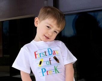 First Day of Pre-K Tshirt, Back-to-School Shirt, First Day of School Shirt, Pre-K Shirt, Boy or Girl, Sizes NB-6, LDM