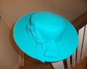 Lovely Teal Turquoise Blue Wool Kathy Jeanne Hat 1980's Retro Elegant Feminine Bow Girly Church
