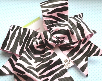Black and Pale Pink Zebra Stripe XL Diva Bow