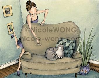 8x10 Original Digital Print  -- Move Cat