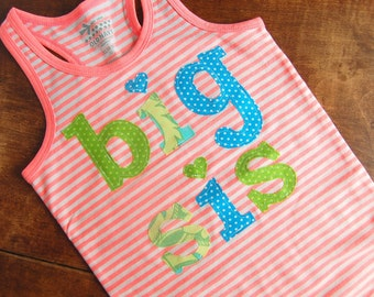Big Sister Shirt /READY TO SHIP / Big Sis Sibling Tshirt / New Baby Birth Announcement / Lil Sis