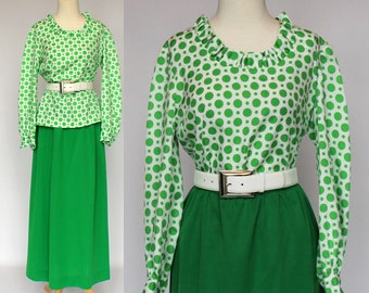 70's Polka Dot Blouse & Gathered Maxi Skirt /  Long Sleeves /  Xsmall to Small