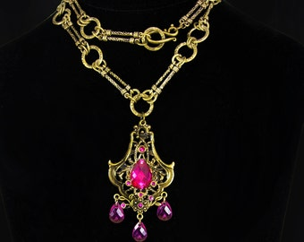 Pink Bohemian necklace chandelier drops baroque chain