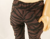 "REDUCED 18"" Doll Black and Brown Zebra Tiger Jungle  Animal  Safari Print Skinny Jeans 18 Inch Doll Sized Girls Toys"