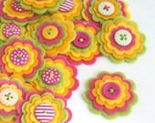 SUMMER FRUITS - Handmade Felt Flower Embellishments, Felt Appliques, Felt Wedding Flowers  Layered Felt Flower, Set of 3