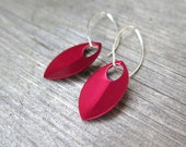 crimson red earrings in sterling silver. red jewellery.