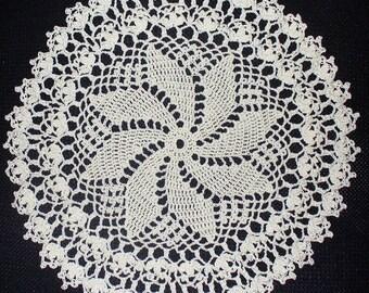 Cream Pinwheel Doily - ready to ship - crocheted