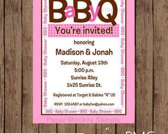 Custom Printed Baby BBQ Shower Invitations for Boy or Girl - 1.00 each with envelope
