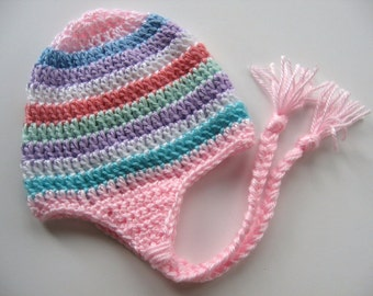 Ready To Ship -  Crochet Rainbow Earflap Hat Baby Girl - Rainbow Striped Baby Girl Hat - Pink Earflap Baby Hat - Size 3 to 6 Months