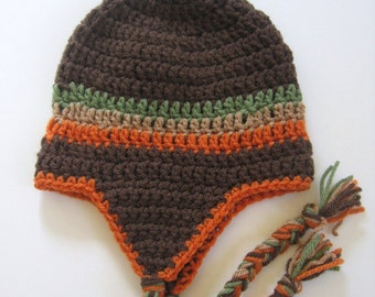 Ready To Ship Crochet Brown Baby Boy Earflap Hat - Size 3 to 6 Months