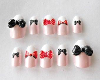 Bow nails, 3D nails, kawaii nail, french nails, oval nails, sweet lolita, lolita nails, nails