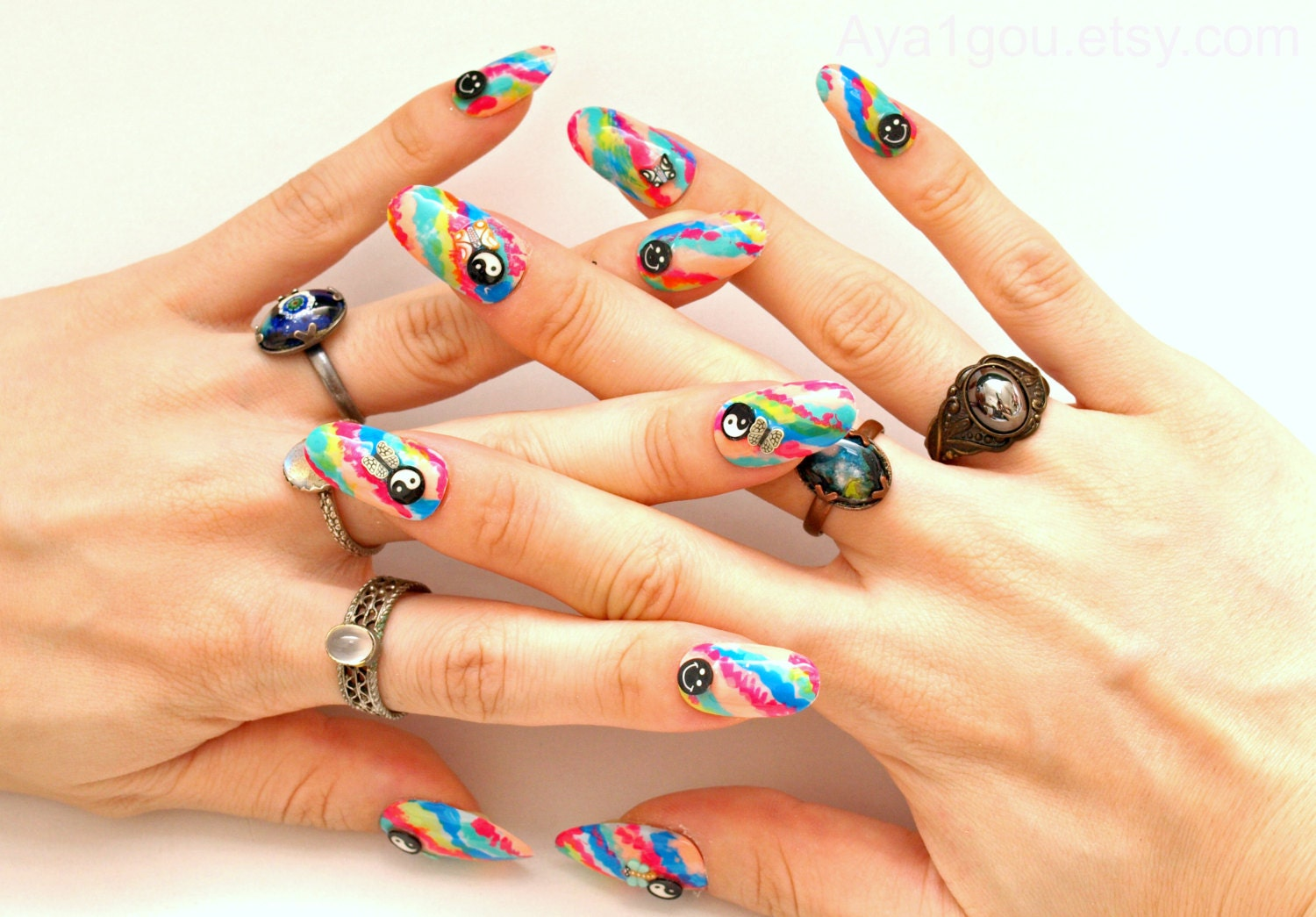 3d nails fake nails press on nails 90s grunge tie dye zoom prinsesfo Choice Image
