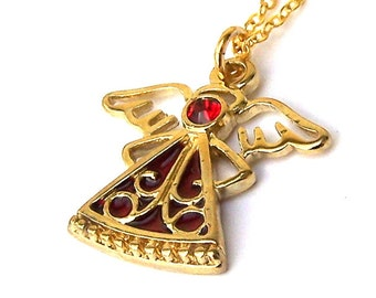 Gold angel necklace with enamel, Christmas angel necklace, guardian angel holiday gold and red
