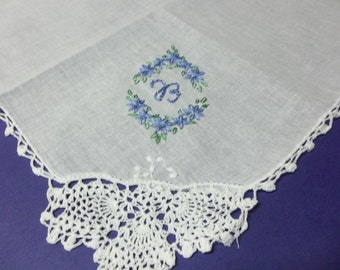 Oval Something blue wedding handkerchief, monogram, hand embroidered, bouquet wrap, hankerchief,wedding colors welcome
