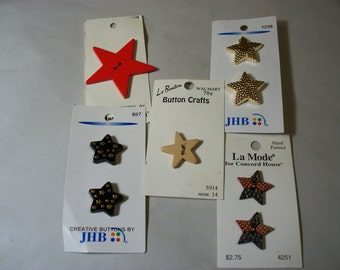 Eight Vintage, Novelty, Star Buttons on Original Cards, Lot  2462 (Free US Shipping)