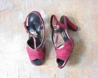 burgundy suede pumps, vintage 70s hush puppies leather heels, size 6 shoes