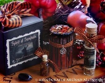 SPIRIT OF SAMHAIN™ Sabbat Ritual Kit w/ Orange & Black Drippy Pentacle Candle, 13 Herbs Incense, Oil, Gemstone - Halloween Spirit Night