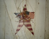 Americana Bead Board Star with Flag Door Hanger, Primitive, Rustic, Americana, Home Decor, OFG, FAPA, HAFAIR