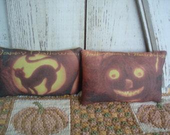 Set of 2 Halloween Pillow Bowl Fillers/Cubby Tucks, Halloween, Fall, Primitive, Rustic, Bowl Fillers, Cubby Tucks, Ofg, Faap, Hafair, Dub