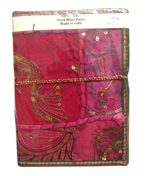 Big Indian Sari Journal,Pink Red Sequins, Ornate Sari Saree Cover, Blank Sketch Book, Illustration Journal, Idea Presentation Book, Handmade