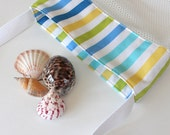 Mesh Beach Bag - Blue Green Stripe - Shell Collecting Bag - Beach Bag
