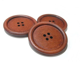 "Large wood button maroon brown - 3 wooden big buttons 40mm (1 5/8"")  #BB142D"