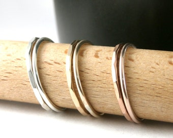 Stack Rings, Gold Stack Rings, Custom Stack Rings, Sterling Silver Stack Rings, Rose Gold Filled Stack Rings, Set Of 2