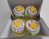 Diaper Cupcakes Set of Four. Yellow Stars