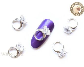 Silver Diamond Ring Nail Charm Nail Art - 2 pcs