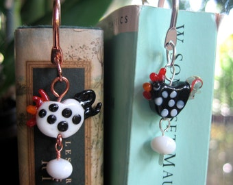 Funky chicken and egg bookmark - black or white hens or roosters on copper, gold or silver plated bookmarks - happy reading