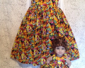 Musical Farm - Matching dresses for child sz 10 12 and American Girl, Bitty Baby doll - sewnbyrachel