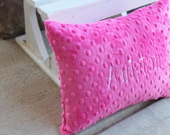 Soft Minky Chenille Personalized Baby Pillowcae WITH Insert in Your Color Choice