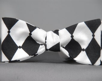 Black and White Harlequin  Bow Tie