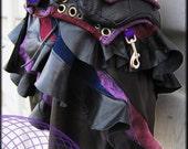 Purple Haze Utility Belt  with Attachable Leather Mini Skirt, Stone Inlay