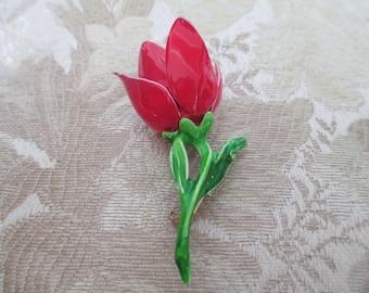 Vintage Red Enamel Retro Flower Pin Brooch