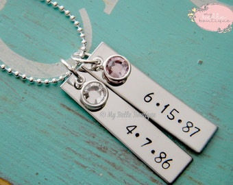 Personalized Hand Stamped Double Rectangle Tag Necklace with Swarovski Birthstones