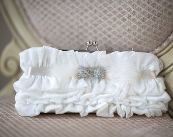 Wedding Handbag, Ivory Bridal Clutch, Bridal Purse