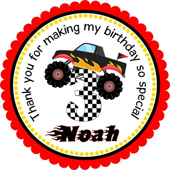 Monster Truck Stickers, Monster Truck Birthday Party, Monster Truck Gift Tags - Set of 12