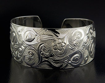 """Northwest Coast Native Two Hummingbirds Cuff Sterling Silver Signed 1"""" Wide"""
