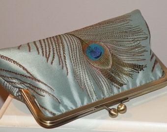 Handmade Peacock Feather Clutch/Purse/Bag/Long Island Wedding/Bridal/Bridesmaid Gift/Ocean Mist/Embroidered Silk/Duck Egg Blue/Free Monogram