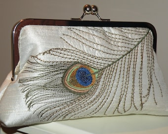 Embroidered Peacock Feather Bridal Clutch/Purse/Bag..Wedding Theme Gift..Ivory Silk..Elegant Plume..Free Monogram..Royal Blue/Moss Green